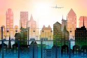 City roads and motorways with lots of traffic. Commuting time illustration — Foto Stock