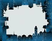 City background made of building silhouettes — Foto Stock