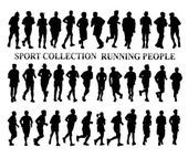 Silhouettes of running people. Sport and healthy life style concept — Stock Photo
