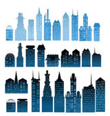 City background made of building silhouettes — Stock Photo