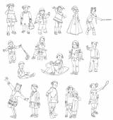 Little kids silhouettes, sketch collection — Stock Photo