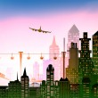 Big city and airplane in the sky illustration, business background — Stock Photo #61454927