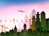 Big city and airplane in the sky illustration, business background — Foto de Stock