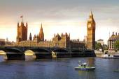 London sunset. Big Ben and houses of Parliament — Stock Photo