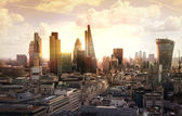 London sunset. View on business modern district — Stock Photo