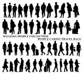 Silhouettes of walking people, caring bags, talking on the phone etc — Stock Photo