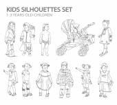 Kids sketch silhouettes — Stock Photo