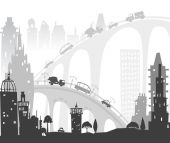 City roads and motorways with lots of traffic. Commuting time illustration — Stock Photo