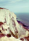 White cliffs south coast of Britain, Dover, famous place for archaeological discoveries and tourists destination — Stock Photo