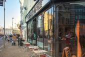 King's passage with cafe view, Cambridge — Stock Photo