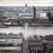 Millennium bridge and river Thames in sun set. View from the St. Paul cathedral — Stock Photo #63780917