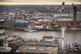 London bridge and river Thames panoramic view in sun set. View from the St. Paul cathedral — Stok fotoğraf