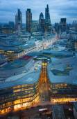 City of London, business and banking aria. London's panorama in sun set. View from the St. Paul cathedral — Stock Photo