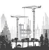 Building site with cranes. City background — Stock Photo