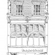 Old English town house with small shop or business on ground floor. Sketch collection — Stock Photo #65436927