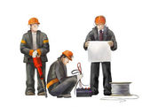 Deputy director, electrician and jack hummer worker. Builders working on construction works illustration — Stock Photo