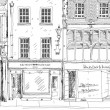 Old English town house with small shop or business on ground floor. Sketch collection — Stock Photo #67268193