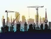 Terrain à bâtir avec des grues. Fond de ville — Photo