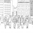 People and tourists on the London streets, Sketch collection — Stock Photo #67901423
