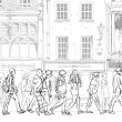 People and tourists on the London streets, Sketch collection — Stock Photo #68773213