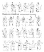 Silhouettes of successful business people working on meeting. Sketch — Φωτογραφία Αρχείου