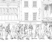 People and tourists on the London streets, Sketch collection — Stock Photo