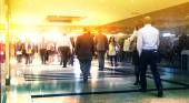 Business people moving blur. People walking in rush hour. Business and modern life concept — Stock Photo