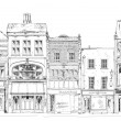 Old English town houses with small shops or business on ground floor. Bond street, London. Sketch collection — Stock Photo #70093977
