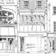 Old English town houses with small shops or business on ground floor. Bond street, London. Sketch collection — Stock Photo #70093985