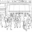 People and tourists in Bond street. London.. Sketch collection — Stock Photo #70094311