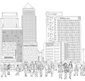 London, Canary Wharf. Business people wailing in the square. Sketch collection — Stock Photo