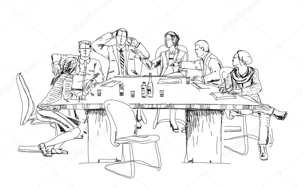 Silhouettes Of Successful Business People Working On Meeting. Sketch U2014 Stock Photo U00a9 Irstone ...