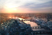 London sunset view from the Shard. Centre of London, London eye, River Thames with beautiful light reflection. — Stock Photo
