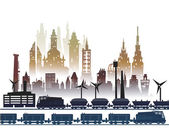 Train running through the city, industrial illustration — Foto de Stock