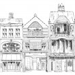 Old English town houses with small shops or business on ground floor. Bond street, London. Sketch collection — Stock Photo #78752166