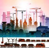Train running through the city, industrial illustration — Stock Photo