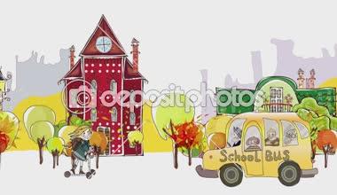 Terug naar school achtergrond. Herfst uitzicht op de stad met geleerden en schoolbussen haasten via de straat — Stockvideo