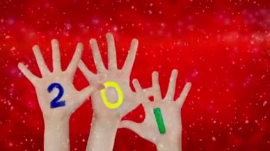 New Year  2016  painted on raised up hands. Christmas background — Stock Video