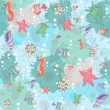 Seamless abstract marine life.Seamless pattern with sea inhabita — Stockvector  #55087791