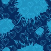 Seamless pattern with  Abstract Hearts on a blue background — Vector de stock