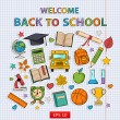 Back to school set on the notebook sheet — Stock Vector #55090941