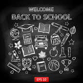 Chalk board Welcome back to school,with thematic elements — Stockvector