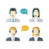 Icons  set Male and female  call center avatars in a flat style  — Stock Vector