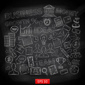 Doodle business icons set on chalk board — 图库矢量图片