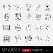 Doodle school icons set. — ストックベクタ