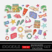 Summer vacation doodle set.Sticker.With themed elements — Stock Vector