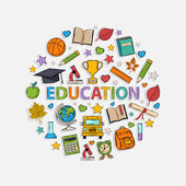 Education set  in the form of a circle — Stock Vector