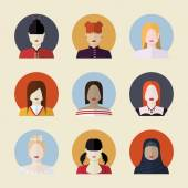 Vector set  of women avatars  different nationalities in flat — Stok Vektör