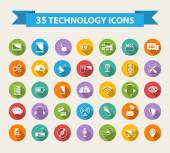 Flat Technology Icons  with long shadow.Big set — Stock Vector