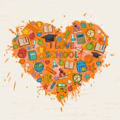 I love school background with colorful blots,inks — Stockvektor